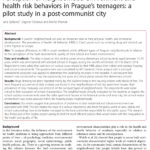 Perception of neighborhood environment and health risk behaviors in Prague's teenagers: a pilot study in a post-communist city