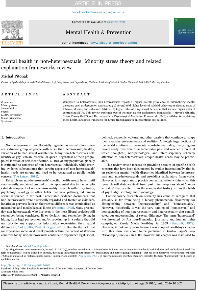 Mental Health in non-heterosexuals: Minority Stress Theory and Related Explanation Frameworks review